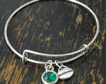 Gentleness Bangle Bracelet, Adjustable Expandable Bangle Bracelet, Gentleness Charm, Gentleness Pendant, Gentleness Jewelry, Gentle Bracelet