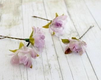 Everlasting Love Flower Hair Pins. Light Purple. Floral, Bridal, Spring, Summer, Weddings,  Hair Accessories, Bridal