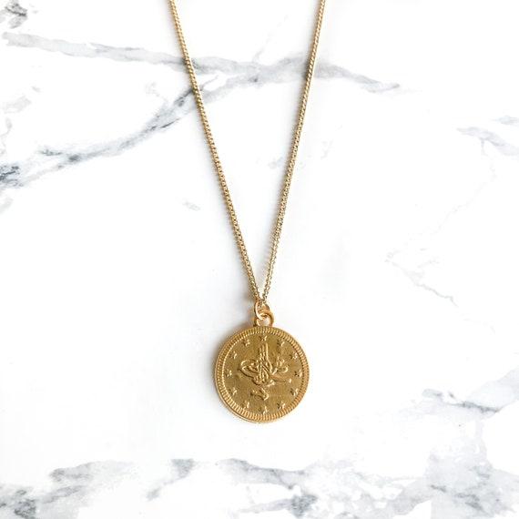 Turkish Gold Coin Medal Necklace, Matte Coin Necklace, Ottoman, Medallion, Round Pendant, Boho, Kim Kardashian, Unisex, Men, Layer, Disc by Etsy