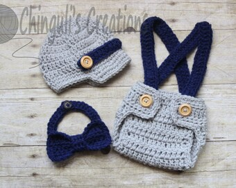 Baby Boy Newsboy Hat Diaper Cover with Suspenders and Bow Tie Outfit Newborn Outfit Newsboy Hat Baby Crochet Beanie Photo Props