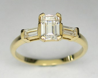 Three stone engagement ring, Made to order