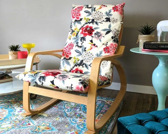 Lovely White Flowers Ikea Poang Chair Cover, Customized Flower Print Ikea Seat  Cover, Candid Moment