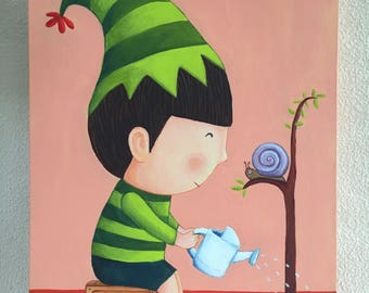 A boy watering a tree. Acrylic on canvas.