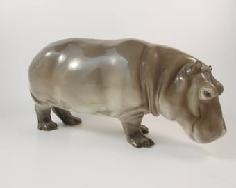 Antique Nymphenburg German Painted Porcelain Hippopotamus Item Number 399 Western Germany Designed by Emil Manz 1915 Safari Animal