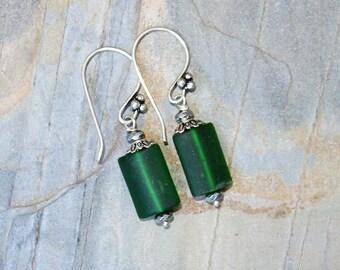 Green Sea Glass Earrings, Silver Wire Wrapped Earrings, Glass Earrings, Handmade Earrings, Bohemian Earrings, Green Earrings, Green Glass