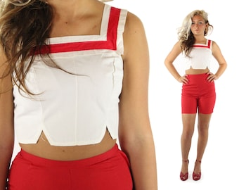 Vintage 50s Crop Top Sleeveless Shirt White Cotton Blouse 1950s Sailor Nautical Pinup Rockabilly Fashion XS