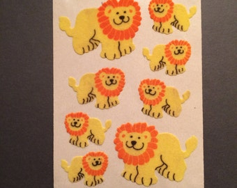 Sandylion vintage 1989 very rare fuzzy maxi  brown back yellow lion stickers