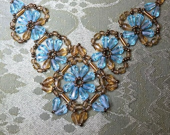 Vintage beaded cornflower blue statement necklace