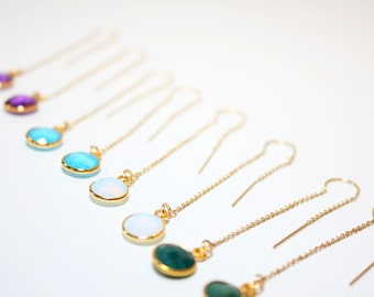 birthstone earrings, birthstone threader earrings, gold birthstone threader earrings, birthstone gold threader earrings, birthday threader