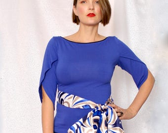 Peacock Blue Bow Top w Large Satin Bow at Waist, Bright Blue Knit Top, Womens Blouse, Made in Australia