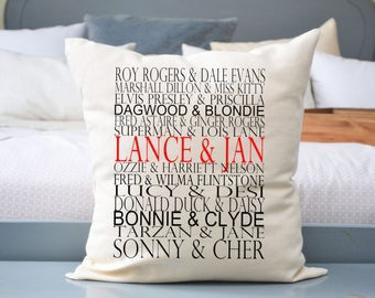 Famous couples pillow, dating anniversary, fiance gift, 2nd anniversary, second marriage, newlywed gift, newly engaged gift