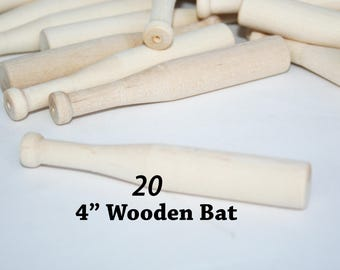 "20- Miniature Baseball Bats 4"" long x 5/16"" thick- Party Favor Bat, Tiny Bat,Mini Wood Bat, Small Baseball Bat, Baseball Favor"