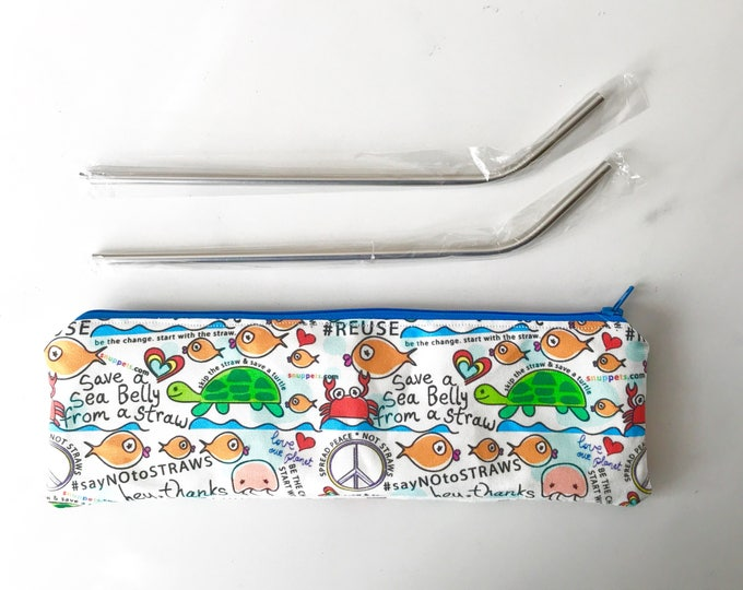 Reusable Straw Pouch - 2 Stainless Straws included