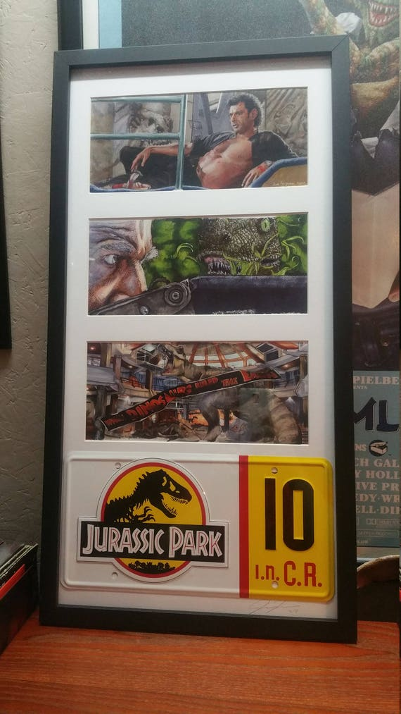 3 Framed Jurassic Park prints with License Plate by Jim Ferguson