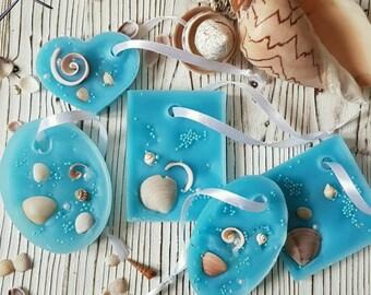 Fragrant sachet Wax tablet Wax sachet Room fragrance Wedding idea Guest gifts Souvenir Flavor Flavored Sachet Gift Sea odor Seashells