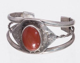 40s Navajo Bracelet - Carnelian Sterling Cuff - Wallace Era