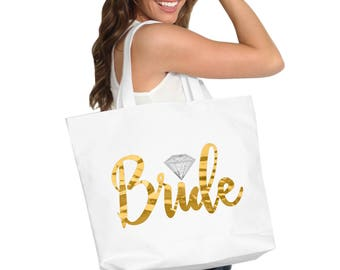 Gold Foil Bride Bag : Bridal Tote Bag, Large Bride's Tote,  Bridal Shower Gift, Bachelorette Party Tote, Engagement Gift, Wedding Carryall