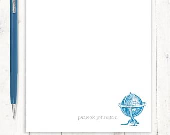 personalized notePAD - VINTAGE GLOBE - stationery - stationary - travel stationery - travel lovers gift - travel notes