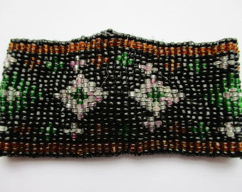 Vintage Woven Glass Seed Bead Bracelet ? Art Deco