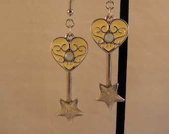 Steampunk Style Hearts and Wishes Earrings