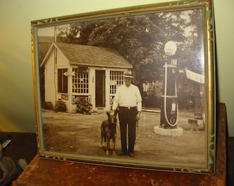 Vintage Gasoline Station Photograph Old Shell Gas Station Photo Coca Cola Signs Nehi Old Gas Pump German Shepherd