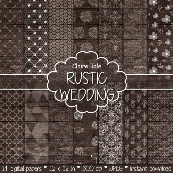 Rustic wedding paper: RUSTIC WEDDING WOOD background with damask, lace, floral, flowers, hearts, leaves, quatrefoil, dandelions patterns