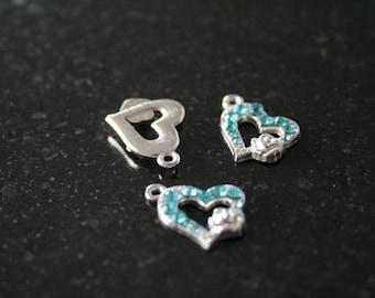 5 silver metal heart charm. (ref:1790).