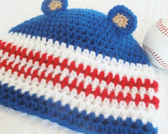 Kids Cub Hat Hand-crocheted Chicago Cubs Inspired Blue Red White Beanie with Ears By Distinctly Daisy