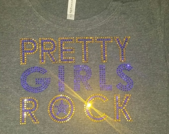Pretty Girls Rock-Blue/Gold-Jr. Fit Tee