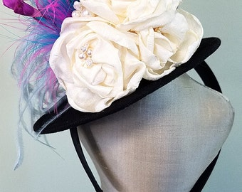SALE! Mini Top Hat Something Blue Bridal Boudoir Prop, Bridal Shower Hat with Ivory Flowers, Mad Hatter Party
