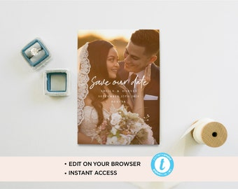 Custom save the date photo card/ save the date template/ modern save the date/ printable save the date/wedding printable/photo save the date