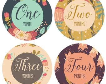 Baby Monthly Milestone Stickers - Baby Month Stickers for Girls - Vintage Floral Bouquet- 12 months - Baby flower age stickers