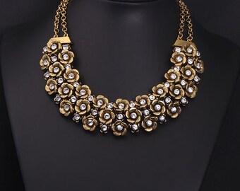 18k Gold Plated Swarovski Crystal Party Necklace NK14242