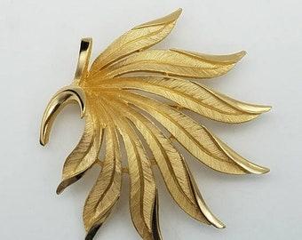 ON SALE Vintage Crown Trifari Brushed Gold Leaf Spray Brooch