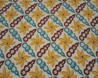 Vintage FEEDSACK fabric - large piece 17 1/2 x 35 - yellow aqua brown