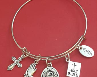 Silver First Holy Communion Themed Charm Bracelet