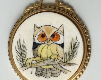 Unique Vintage  Handpainted Owl Pendant .