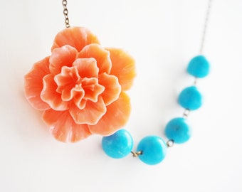 Statement Necklace Coral Necklace Flower Necklace Turquoise Necklace Bridesmaid Jewelry Bridesmaid Gift Bridesmaid Set Wedding Necklace Gift