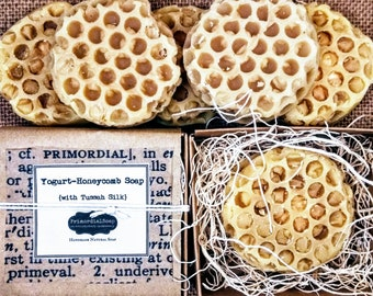 PrimordialSoap's Yogurt-Honeycomb Soap {with Tussah Silk} Handmade Natural Soap Luxury bar soap Milk and honey soap Honey soap Silk soap