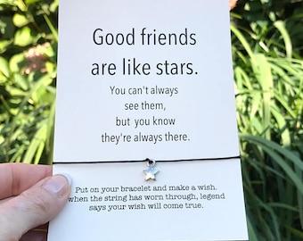 Friendship bracelet, Best friend bracelet, Wish bracelet, BFF bracelet, Good friends are like stars, Birthday gift, Best friend gift, A5