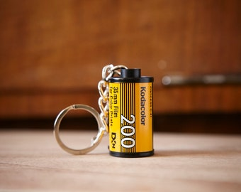 Film Canister Key Chain. Kodacolor 200 35mm film. Photographer gift.