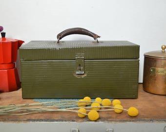 Vintage Dark Olive Green Toolbox with Leather Handle Pioneer Steel Company Los Angeles