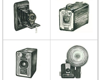 camera giclee print set - four 5x5 art prints - vintage camera watercolor prints (all black) // wall art // home decor