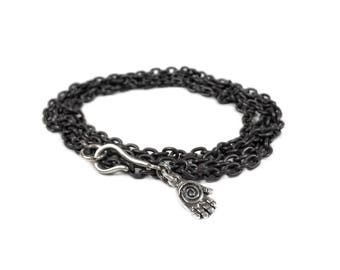 Hamsa Bracelet, Oxidized Sterling Silver Bracelet, Mens Bracelet, Hamsa Cable Bracelet, Mens Jewelry, Gift, For Him, Womens Jewelry, For Her