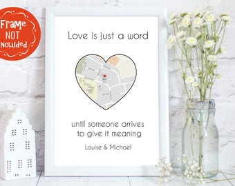 Boyfriend gift, gift for boyfriend, Husband wedding gift, wife to husband gift, Love map, love print, map print, personalised map print,