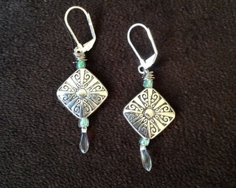 Silver Cut Out and Bead Drop Earring