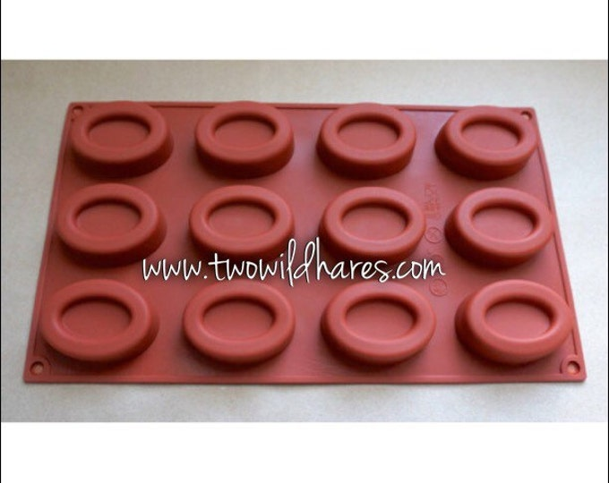 OVAL HOTEL 1oz Size Soap Mold, Sample Soaps, Lotion Bars, Jelly Soap Mold, Heat Safe Silicone, 12 cavities, Two Wild Hares