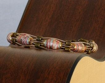 Handmade Paper Bead  & Guitar String Bracelet - Coral Reef