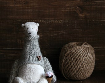 Teddy Bear in a gray sweater - New Collection - Stuffed bear toy - Handmade Toys