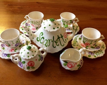 Gone With The Wind Scarlett O'Hara Personalized DELUXE Little Girl's Child's Tea Set with 4 Tea Cups, 4 plates, Handpainted and Monogrammed